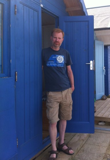 Richard at his hut