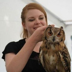 Elizabeth with Shanti the Bengle Eagle owl