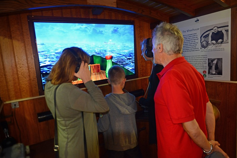Visitors with the interactive information boards
