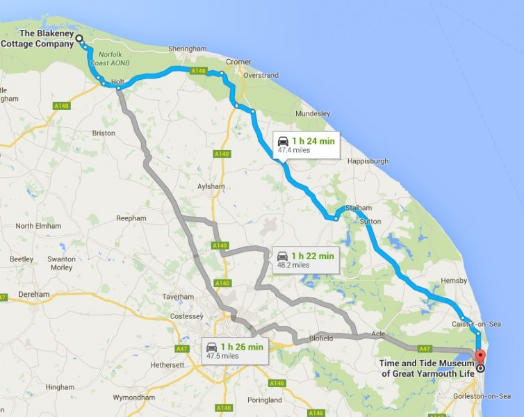 Map from Blakeney Cottages HQ to the Time and Tide Museum