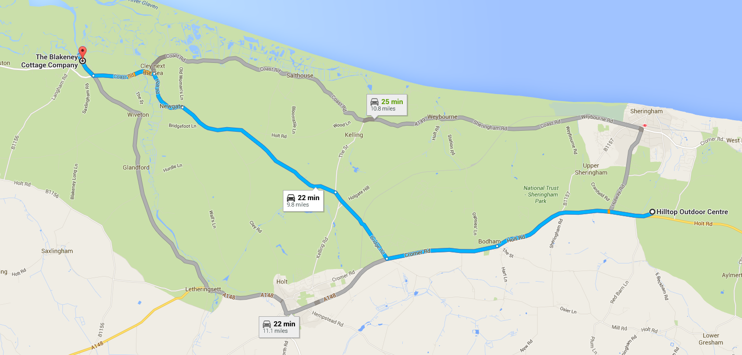 Map showing the route from Blakeney to Hilltop Outdoor Centre