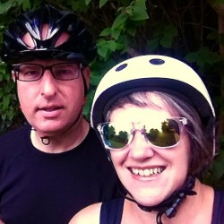 Stephanie and her husband out cycling