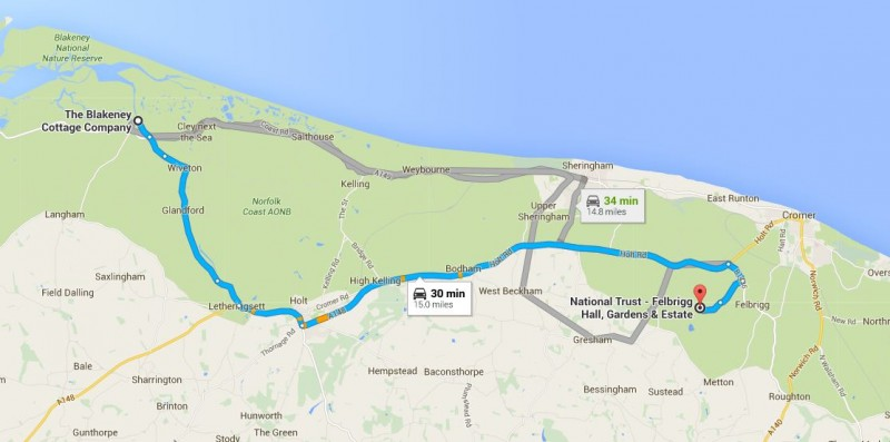 map showing journey from Blakeney Cottage Company to Felbrigg Hall