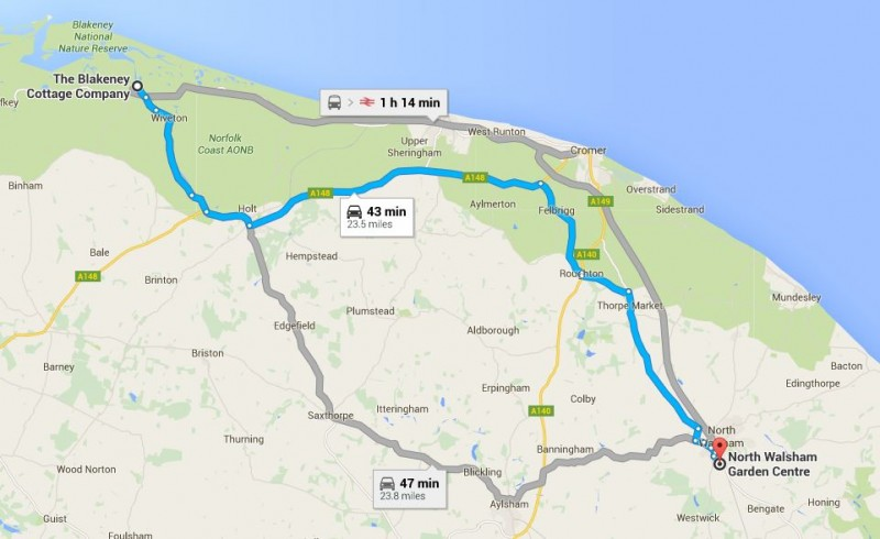 Map from Blakeney Cottage Company HQ to North Walsham Garden centre