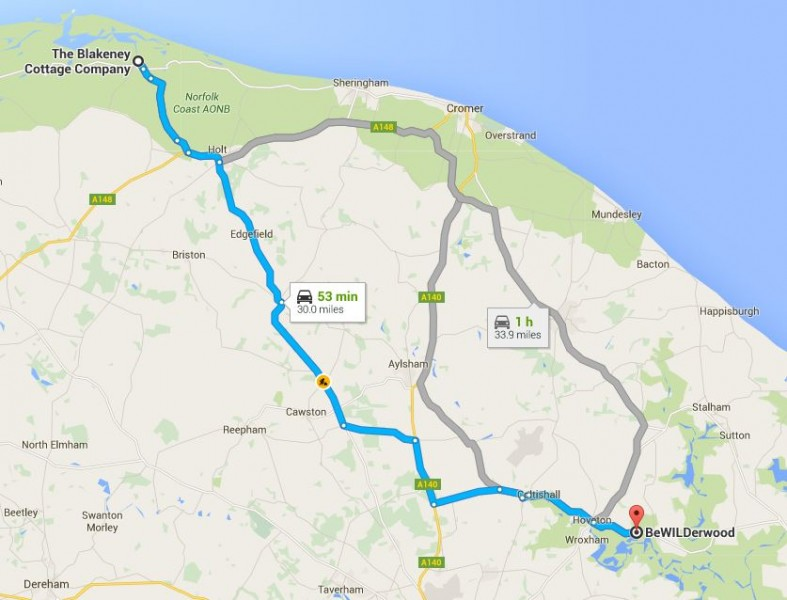 Map from Blakeney Cottage Company HQ to BeWILDerwood