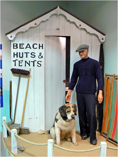 A beach hut scene