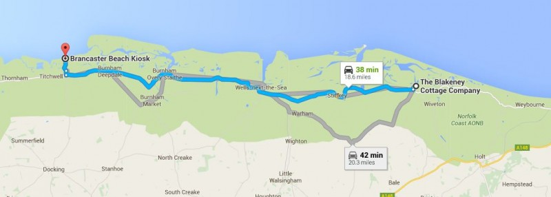 Map of Blakeney Cottage Company HQ to Brancaster beach