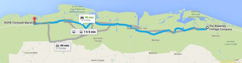 Map of Blakeney Cottage Company HQ to RSPB Titchwell