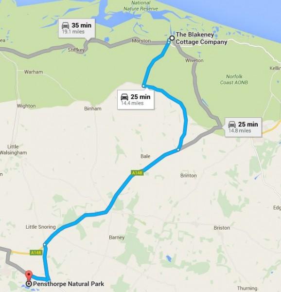 map location The Blakeney Cottage Company to Pensthorpe Nature Park