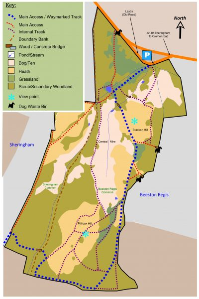 Beeston and Sheringham Commons Map